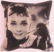 "FILLED AUDREY HEPBURN BLACK TAPESTRY COTTON THICK 18"" CUSHION - $13.42"