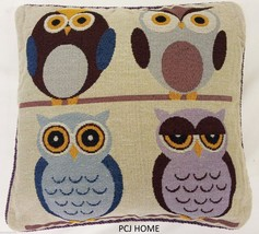 "CUTE OWLS OWL BIRDS TAPESTRY VELVET 18"" THICK FUNKY CUSHION COVER - $9.30"