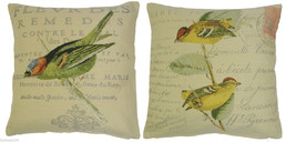 "2 X FILLED RUSTIC GREEN GOLD CREAM FRENCH BIRDS TAPESTRY CHENILLE 18"" CU... - $26.68"