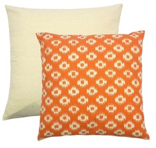 "FILLED AZTEC STYLE ORANGE CREAM TAPESTRY CUSHION 18"" - 45CM - $11.58"