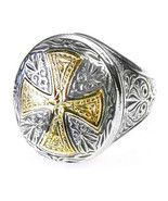 Gerochristo 2534 - Solid Gold & Silver Medieval Byzantine Cross Ring  /... - $460.00