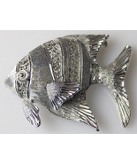 Silvertone TROPICAL ANGEL FISH PIN Brooch Silver-tone Jewelry 1-5/8 inches - £8.54 GBP