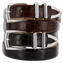 Wilshire Italian Calfskin Leather Designer Dress Belts for Men (46, Alligator... - $29.20