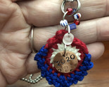 Election/vote necklace with stamped copper charm and colorful crochet accent