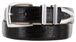 Wilshire Italian Calfskin Leather Designer Dress Belts for Men (46, Lizard Bl... - $29.20
