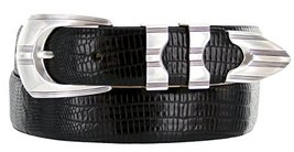 Ventura Leather Designer Dress Belt Lizard Black 48 - $37.61