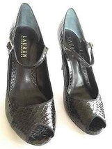 New Lauren Ralph Women's  Peep Toe Pumps Snake Skin Strap Leather Size 7.5 M - $28.71