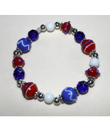Patriotic Red, White and Blue Lampwork Beaded B... - $8.50