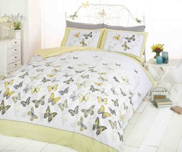 TRENDY FUNKY COTTON BUTTERFLY LEMON YELLOW DOUB... - $24.55