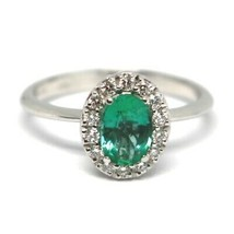 White Gold Ring 750 18K, Flower, Emerald 0.73 Oval, Diamonds, Italy Made image 1