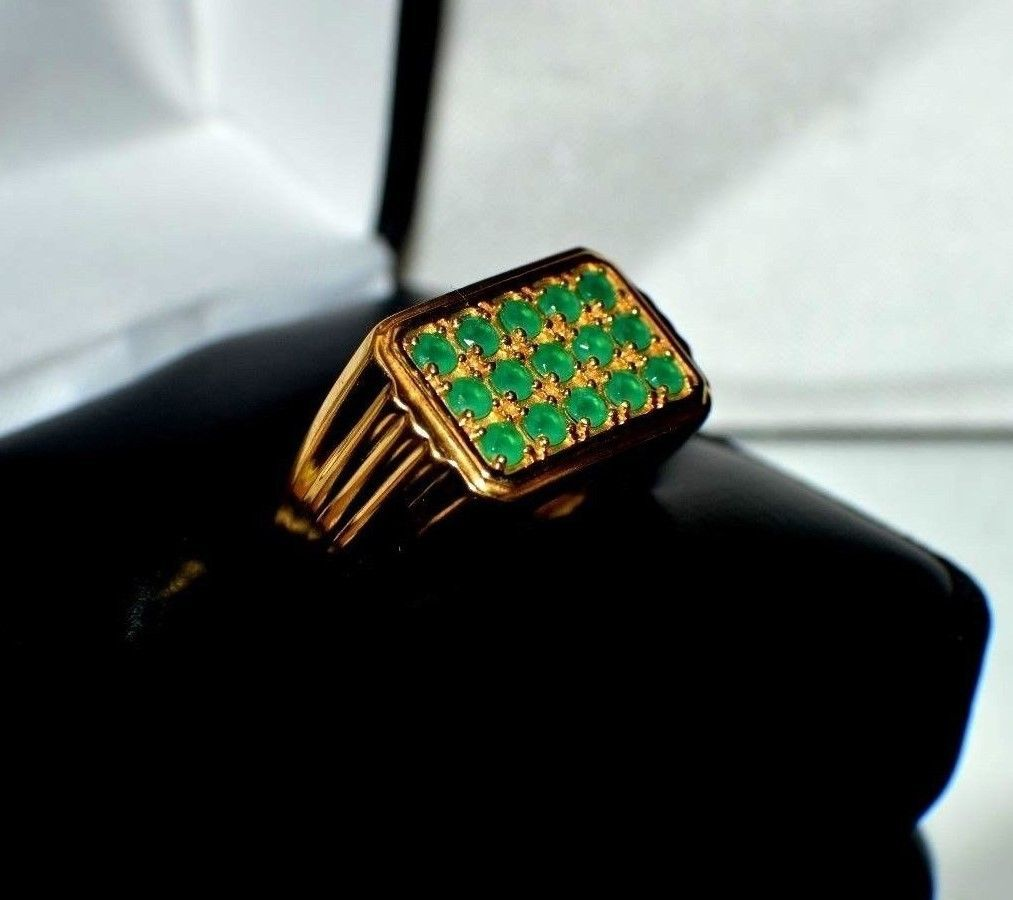 1 60ct NATURAL EMERALD in 24K GOLD OVERLAY 925 STERLING SILVER MEN S RING