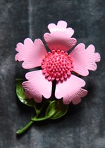 PINK ENAMEL FLOWER PIN BROOCH HAND PAINTED MID CENTURY 1950-60's ANEMONE... - $29.99
