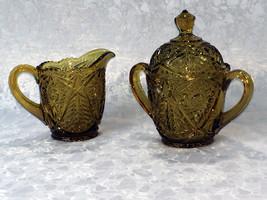 Vintage Indiana Glass  Dark Amber Creamer & Sug... - $40.49