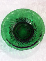 "Anchor Hocking Forest Green Glass 6 1/2"" Bowl Swirl and Diamonds - $4.95"