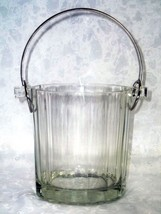 Modernist Crystal Ice Bucket with Fluted Design and Silverplate Handle - $41.23