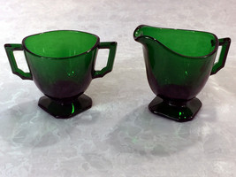 Fostoria Mayfair Dark Green Individual Creamer and Sugar Circa: 1930 - 1931 - $48.49