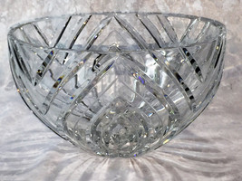 "8.5"" Vintage Large Tall Heavy LEAD CRYSTAL Round Cut Glass Salad Serving... - $64.35"