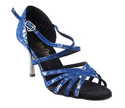 Very Fine Ladies Women Ballroom Dance Shoes EK1613LED Limited Blue Silver Pat... - $65.95