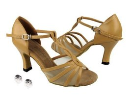 Very Fine Ladies Women Ballroom Dance Shoes EK1692 Beige Brown Leather &... - $64.95