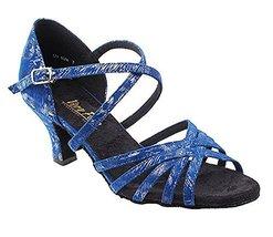 Very Fine Ladies Women Ballroom Dance Shoes EK1613LED Limited Blue Silver Pat... - $65.95