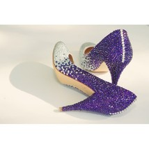 Purple Crystal Wedding Shoes Bridal Bridesmaid Shoes Rhinestone Prom Shoes Pumps - $135.00