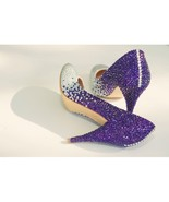Purple Crystal Wedding Shoes Bridal Bridesmaid Shoes Rhinestone Prom Sho... - $135.00