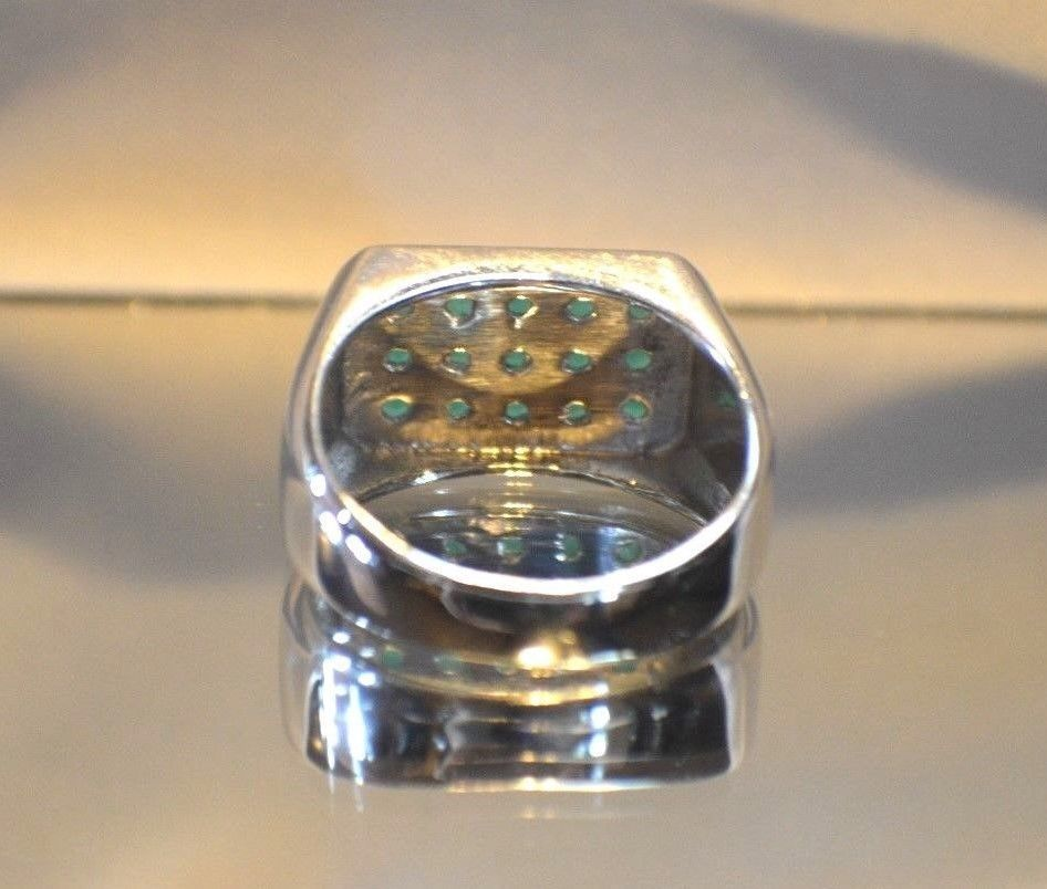 1 60ct NATURAL EMERALD PLATINUM OVERLAY 925 STERLING SILVER MEN S RING Rings