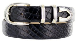 Coronado Italian Calfskin Leather Designer Dress Belts for Men (44, Alligator... - $29.20