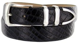 Vins Italian Calfskin Leather Designer Dress Belts for Men (42, Alligator Navy) - $29.20