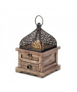 Rustic Wooden Candle Lantern Moroccan Patio Light Pine Wood Iron Accent ... - $29.65