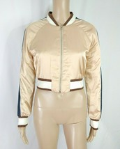 Forever 21 Blush Nude Brown California Satin Striped Cropped Bomber Jack... - $9.50