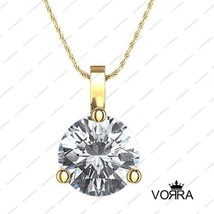 14K Gold Plated .925 Silver White Cubic Zirconia Solitare Pendant + Free Chain - £31.77 GBP