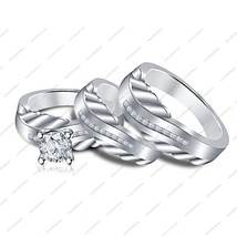 Beautiful Sim Diamond 925 Sterling Silver Trio Ring Set For Both Women's & Men's - $133.29