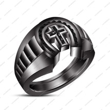 925 Silver 14K Black Gold Plated Round Cut CZ Christmas Men's Band Cross Ring - $134.99