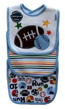 3pk Velcro Closure Bib Gerber Sports Stripe Football Baseball Soccer  - $10.99