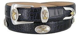 Bayside- Italian Calfskin Leather Designer Dress and Golf Belt For Men (ANVY,46) - $39.59