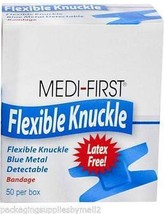 50/Box Bandaids Knuckle Cloth Adhesive Bandages Blue Metal Detectable (3... - $24.01