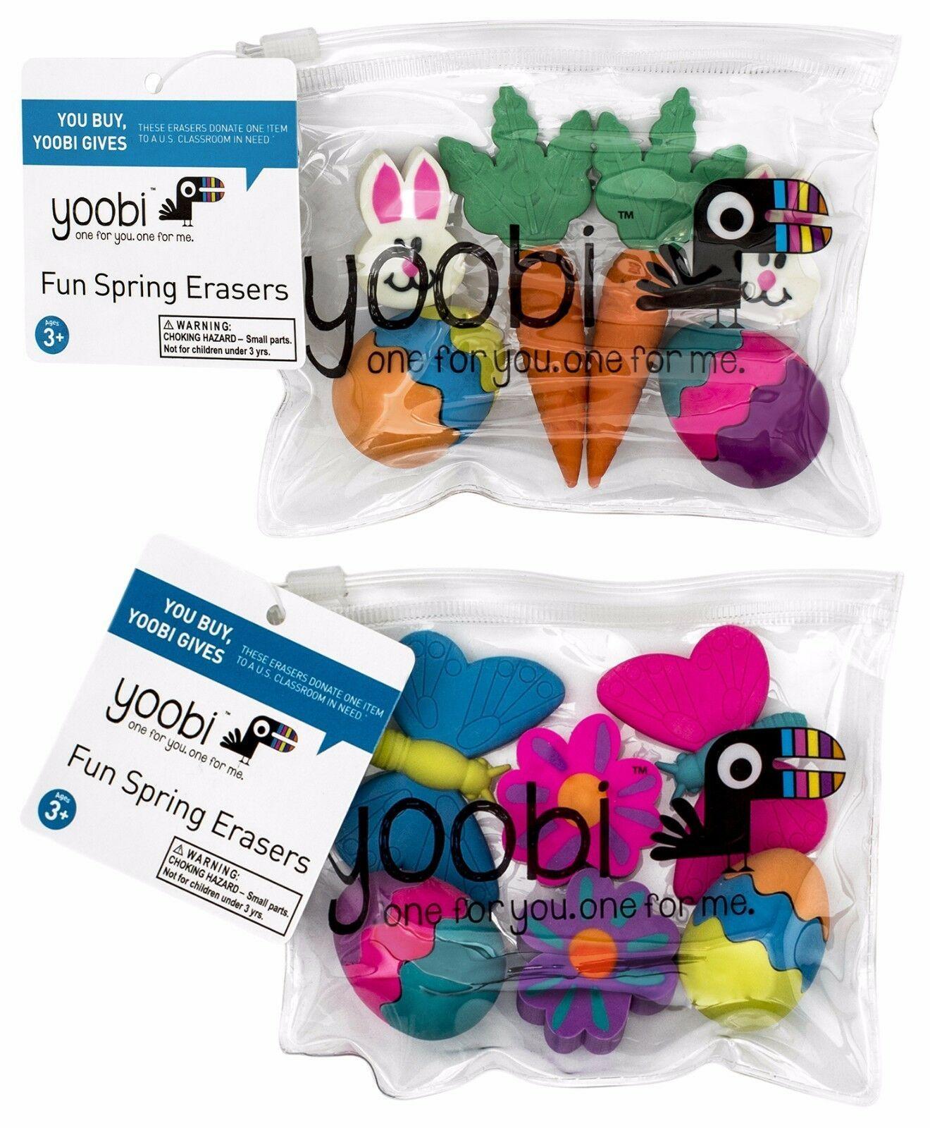 YOOBI 6pc FUN SPRING ERASERS Resealable Bag EASTER Eggs+Bunnies+More*YOU CHOOSE*