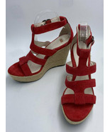 Ugg 8.5 Lauri Red Suede High Espadrille Wedge Heels Sandals Shoes - $54.99