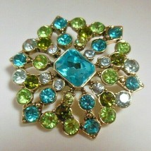 "Vintage Signed Lc ""Liz Claiborne"" Blue/Green Rhinestone Brooch - $24.26"