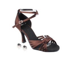 Very Fine Ladies Women Ballroom Dance Shoes EKSERA3780 Dark Coffee Satin... - $65.95