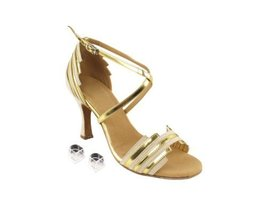 Very Fine Ladies Women Ballroom Dance Shoes EKSERA1700 Beige Nubuck & Gold Tr... - $65.95