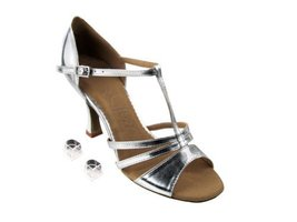 "Very Fine Ladies Women Ballroom Dance Shoes EKSA1683 Silver Leather 2.5""... - $65.95"