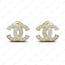 Solid 14K Yellow Gold Plated 925 Sterling Silver White CZ Women's Fancy Earrings - £27.01 GBP