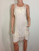 Forla Paris ivory Cream Sheer Lace Romantic Boho Chic ruffle Dress SMALL - $39.00