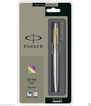 Parker Jotter SS Steel GT Ball Point Pen (Gold Trim) + Fine Quink Blue Ink + New - $13.70
