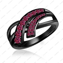 Full Black GP 925 Sterling Silver Pink Sapphire Bypass Engagement Ring - $78.99