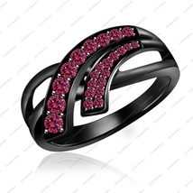 Black Rhodium Plated 925 Sterling Silver Pink Sapphire Bypass Engagement Ring  - £57.27 GBP