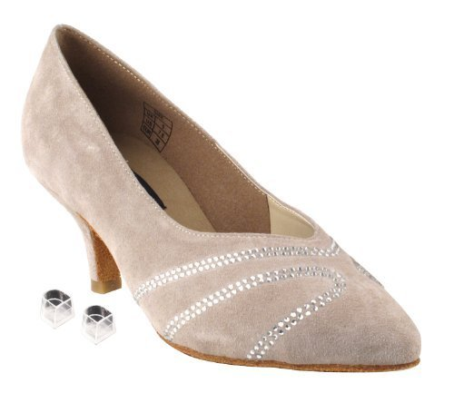 "Primary image for Very Fine Ladies Women Ballroom Dance Shoes EKCD5504 Grey Suede 2.5"" Heel (7.5M)"