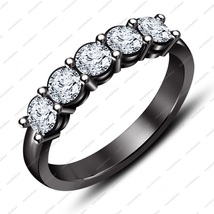 Black Rhodium Plated 925 Sterling Silver White CZ Five Stone Band Ring for your  - £50.02 GBP